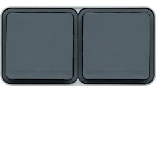 WNC162 cubyko s - Socket Schuko x2 horiz, grey