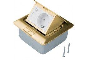 BSQRJ45R45B Caixa de chão quadr 1Schuko+RJ45, bronz